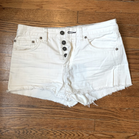White Free People High-Waisted Jean Shorts